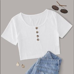 LIKE FOR DISCOUNT! NEW White Crop Half Button Tee